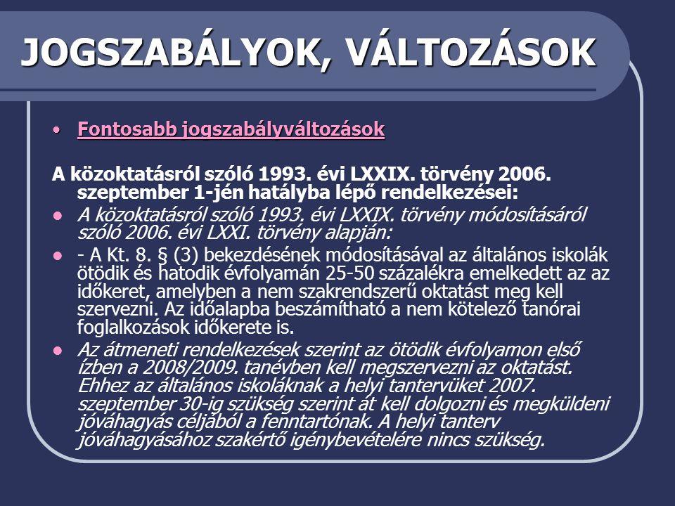 JOGSZABÁLYOK, VÁLTOZÁSOK •Fontosabb jogszabályváltozások A közoktatásról szóló 1993.