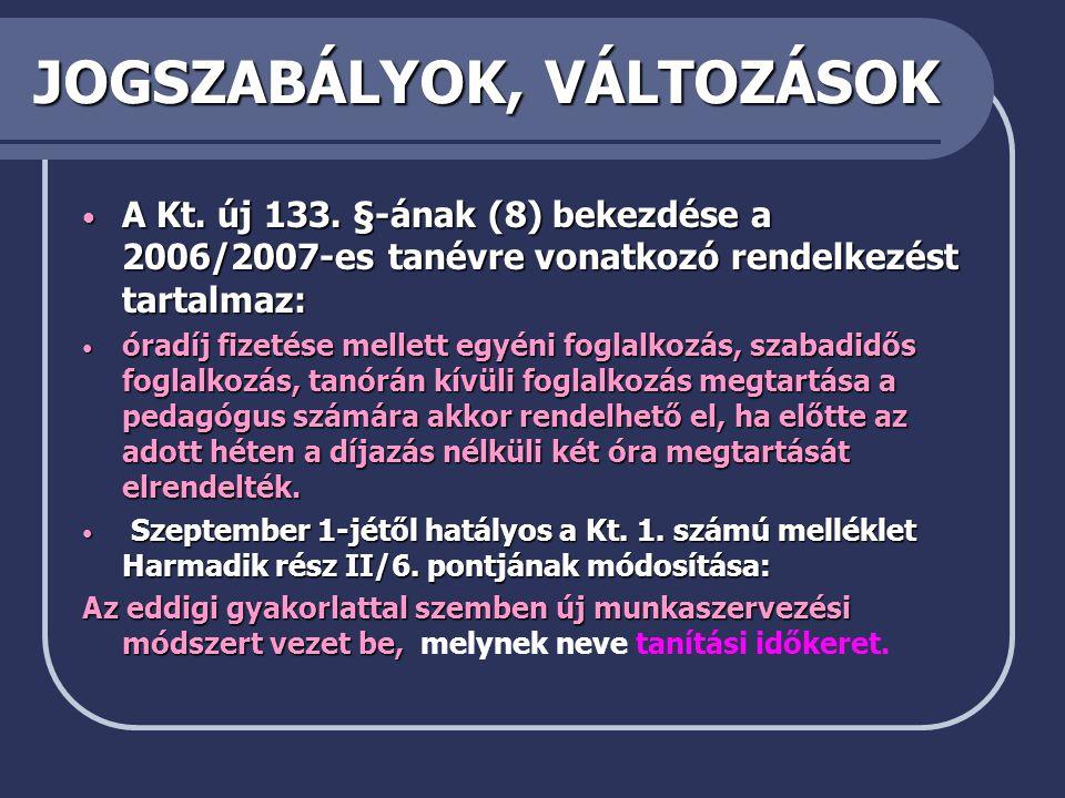JOGSZABÁLYOK, VÁLTOZÁSOK • A Kt.új 133.