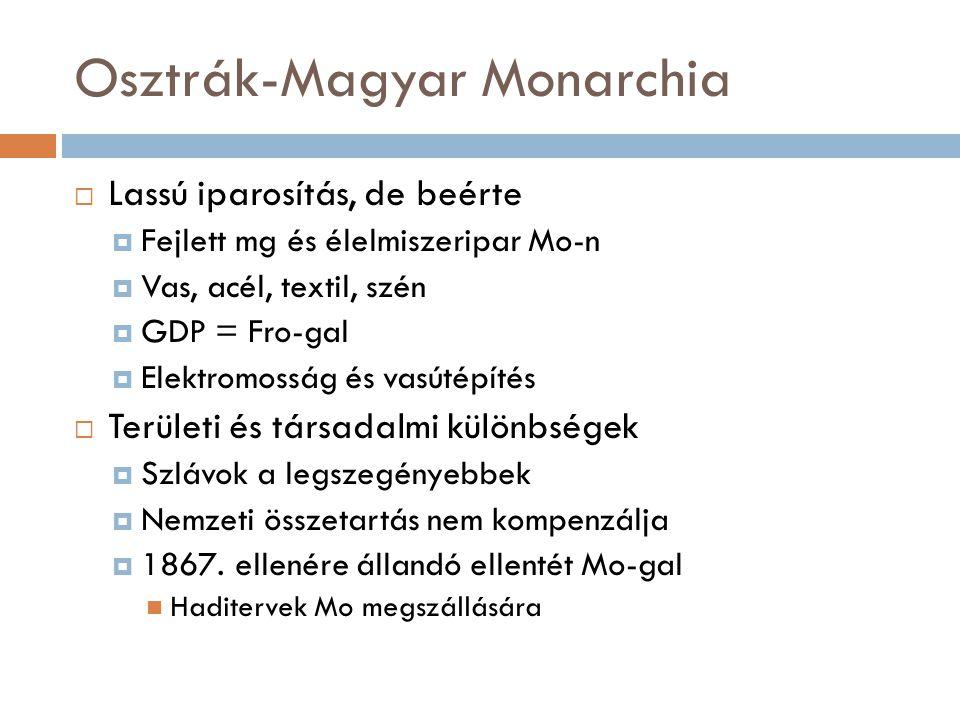 Osztrák-Magyar Monarchia  Lassú iparosítás, de beérte  Fejlett mg és élelmiszeripar Mo-n  Vas, acél, textil, szén  GDP = Fro-gal  Elektromosság é