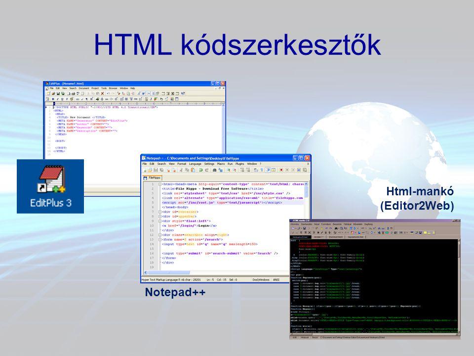 HTML kódszerkesztők Notepad++ Html-mankó (Editor2Web)