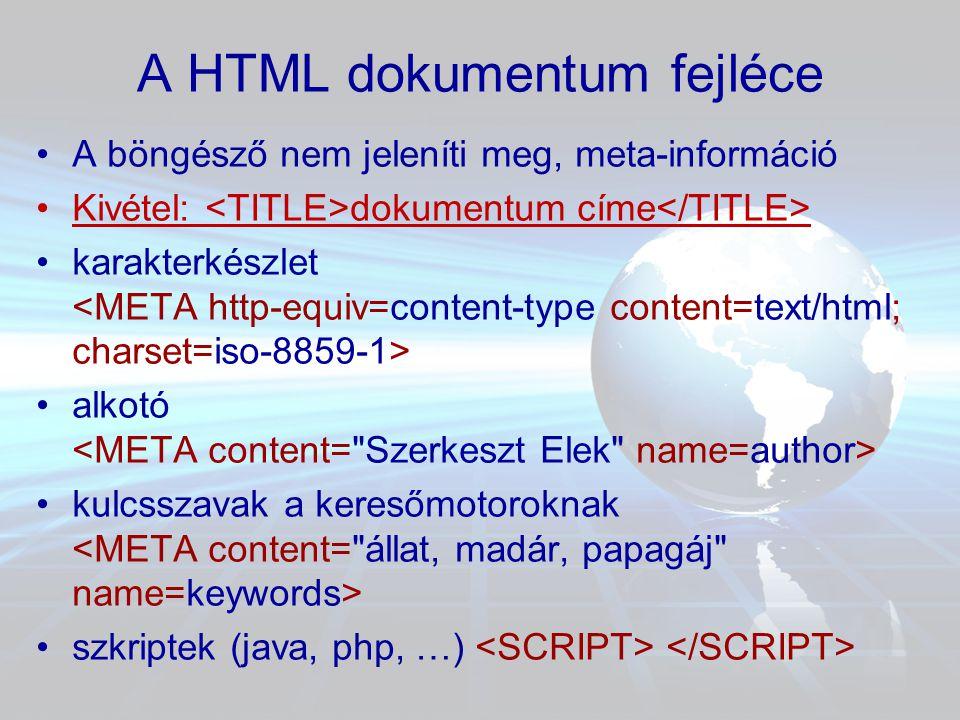 A HTML dokumentum szövegteste • tartalmi rész • •karakter •bekezdés szöveg