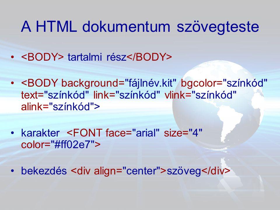 A HTML dokumentum szövegteste •bekezdés illetve •címsorok címsor1 •táblázat … •hivatkozás szöveg •kép