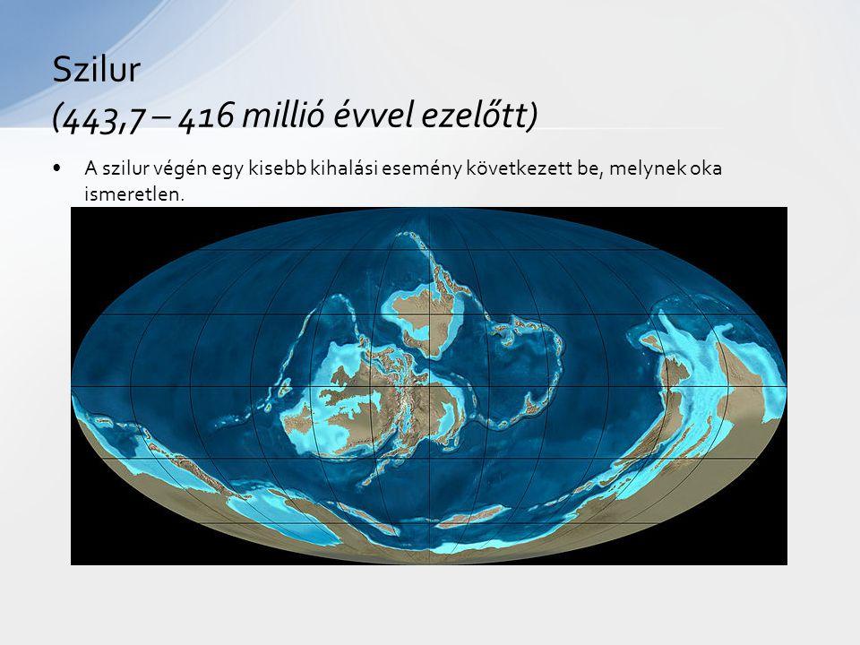 •A szilur végén egy kisebb kihalási esemény következett be, melynek oka ismeretlen. Szilur (443,7 – 416 millió évvel ezelőtt)