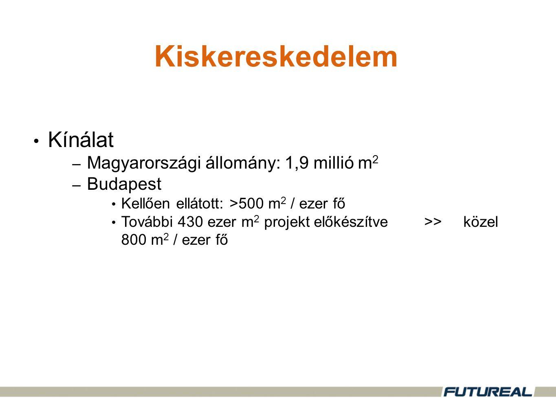 •Kínálat – Magyarországi állomány: 1,9 millió m 2 – Budapest •Kellően ellátott: >500 m 2 / ezer fő •További 430 ezer m 2 projekt előkészítve>>közel 800 m 2 / ezer fő Kiskereskedelem