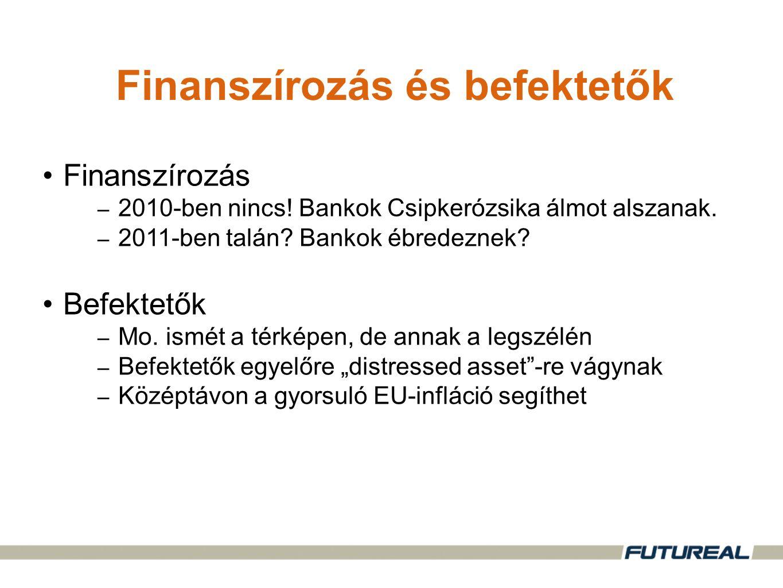 •Finanszírozás – 2010-ben nincs. Bankok Csipkerózsika álmot alszanak.