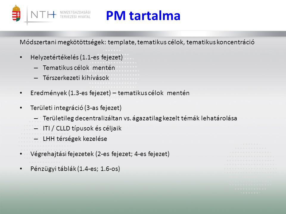 PM tartalma Módszertani megkötöttségek: template, tematikus célok, tematikus koncentráció • Helyzetértékelés (1.1-es fejezet) – Tematikus célok mentén – Térszerkezeti kihívások • Eredmények (1.3-es fejezet) – tematikus célok mentén • Területi integráció (3-as fejezet) – Területileg decentralizáltan vs.