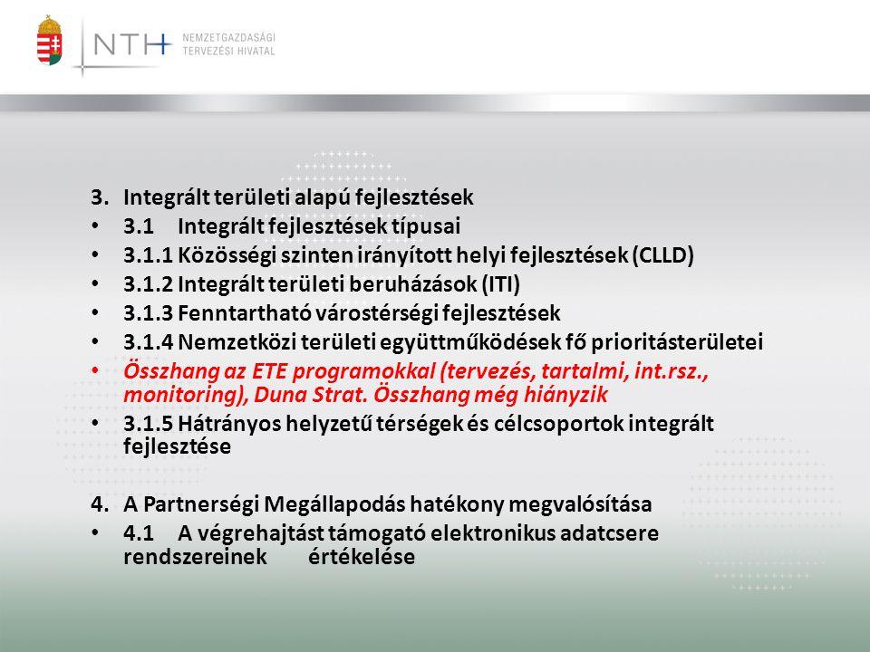 3.Integrált területi alapú fejlesztések • 3.1Integrált fejlesztések típusai • 3.1.1Közösségi szinten irányított helyi fejlesztések (CLLD) • 3.1.2Integrált területi beruházások (ITI) • 3.1.3Fenntartható várostérségi fejlesztések • 3.1.4Nemzetközi területi együttműködések fő prioritásterületei • Összhang az ETE programokkal (tervezés, tartalmi, int.rsz., monitoring), Duna Strat.