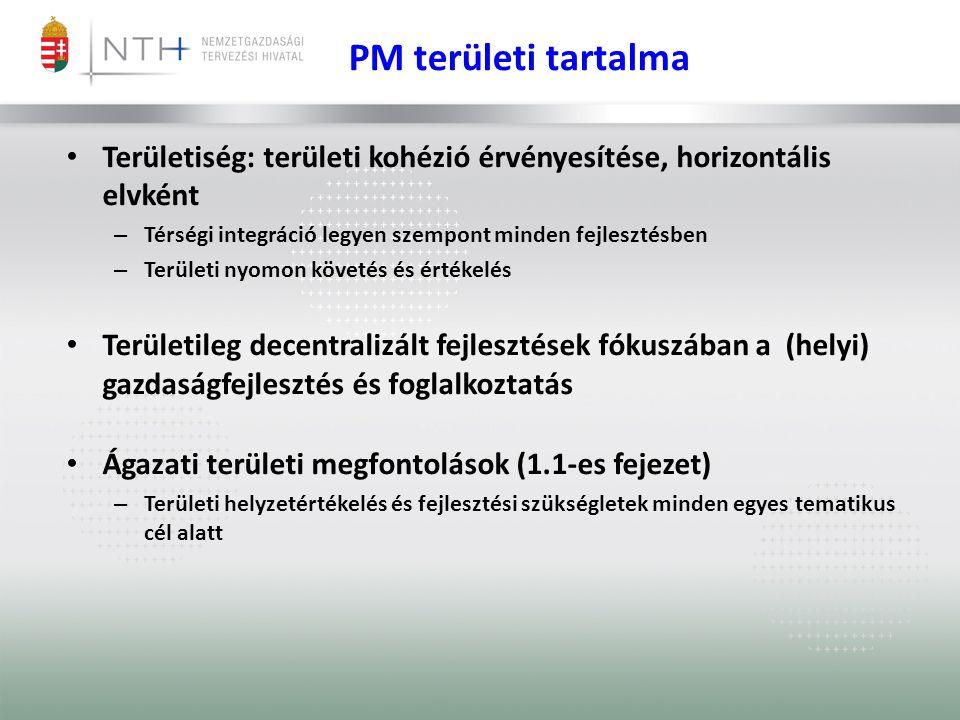 PM területi tartalma • Területiség: területi kohézió érvényesítése, horizontális elvként – Térségi integráció legyen szempont minden fejlesztésben – Területi nyomon követés és értékelés • Területileg decentralizált fejlesztések fókuszában a (helyi) gazdaságfejlesztés és foglalkoztatás • Ágazati területi megfontolások (1.1-es fejezet) – Területi helyzetértékelés és fejlesztési szükségletek minden egyes tematikus cél alatt