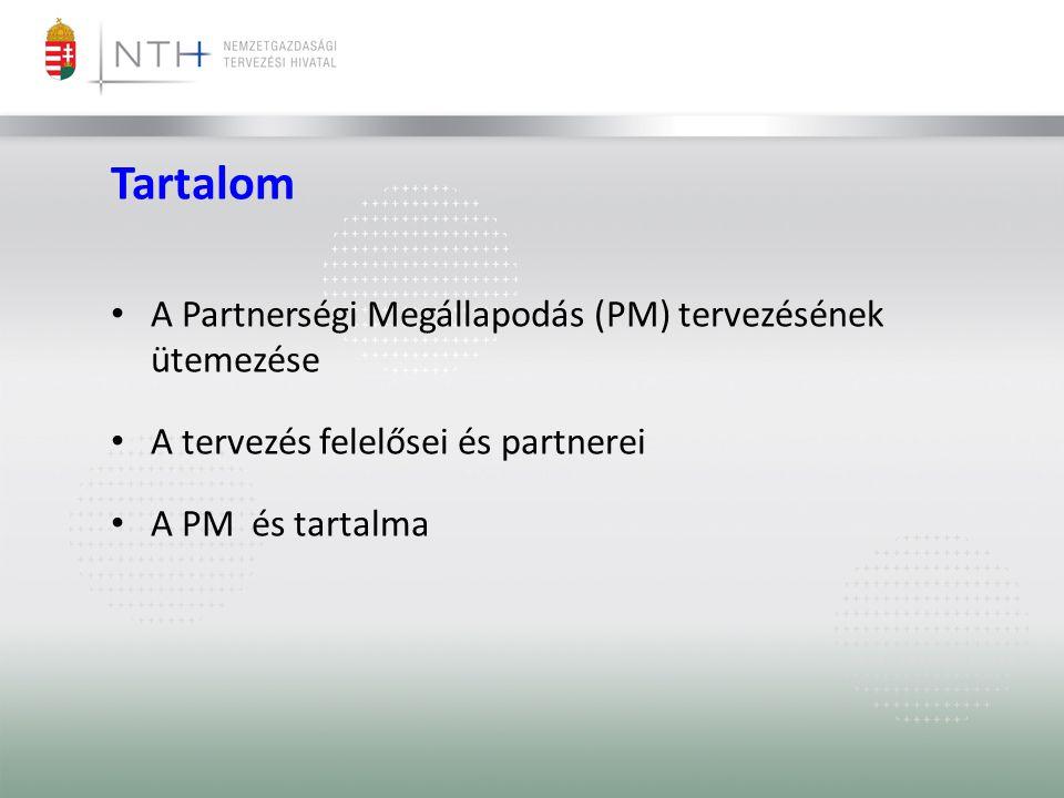 Tartalom • A Partnerségi Megállapodás (PM) tervezésének ütemezése • A tervezés felelősei és partnerei • A PM és tartalma