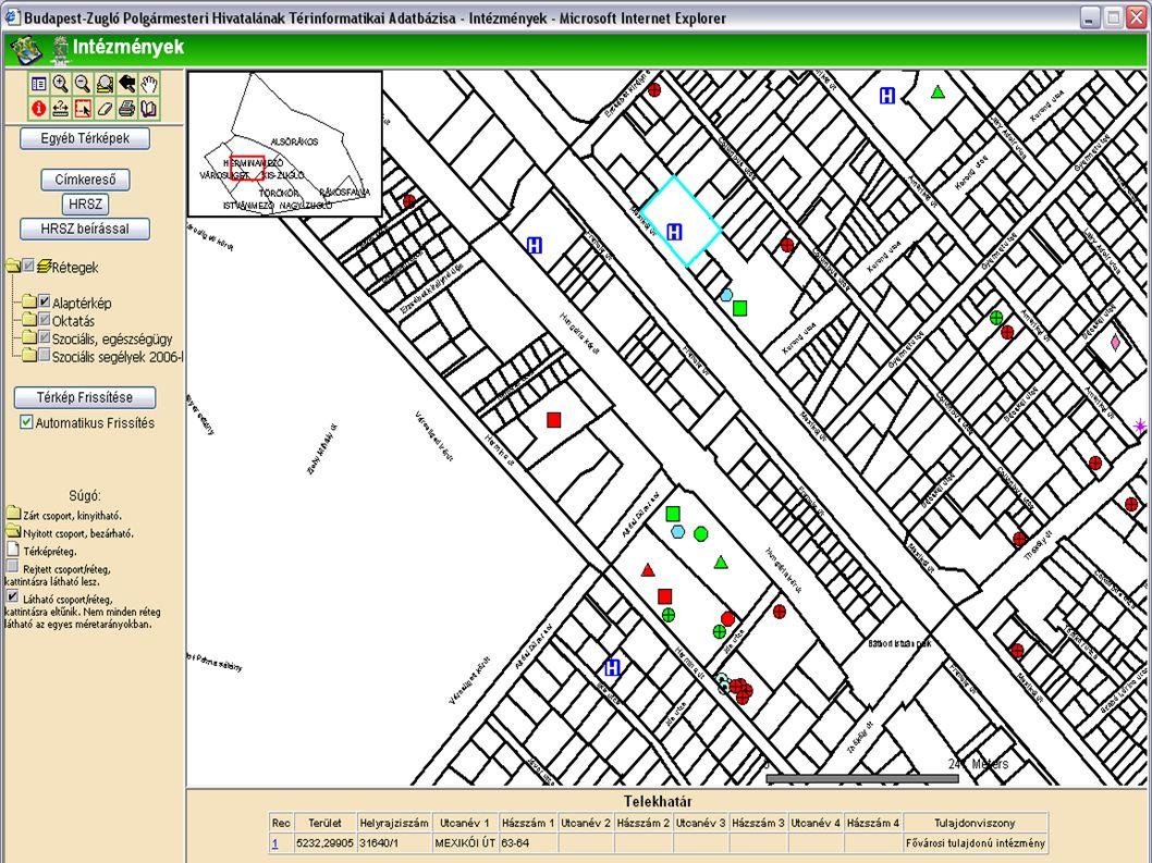 Térképi elemek kiválasztása  Kiválasztott elemekről tudunk információt lekérni az adatbázisból  Hogyan választunk ki?  Térképen a kiválasztó eszköz