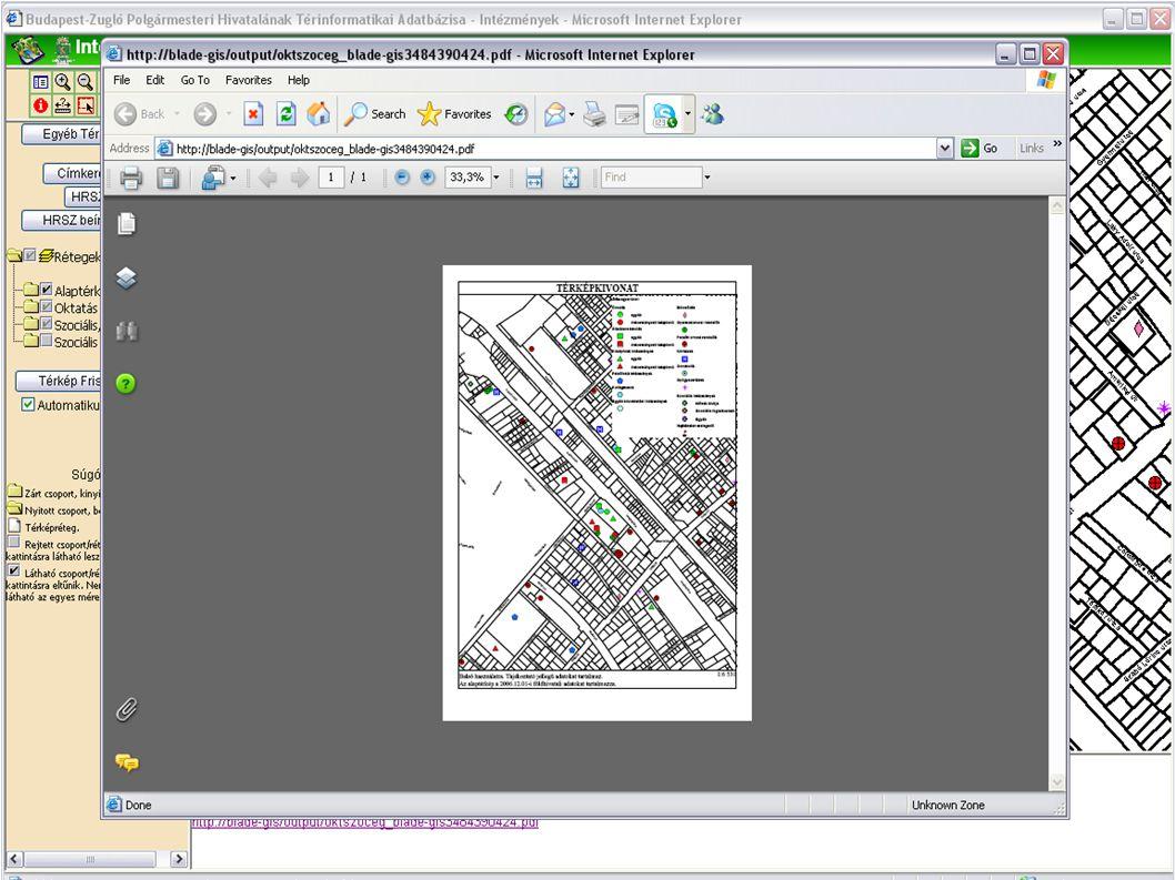 Méretarányos nyomtatási kép előállítása  A térkép megjelenítőben látható térkép nyomtatása adott méretarányban  Nem biztos hogy a látott térkép olya