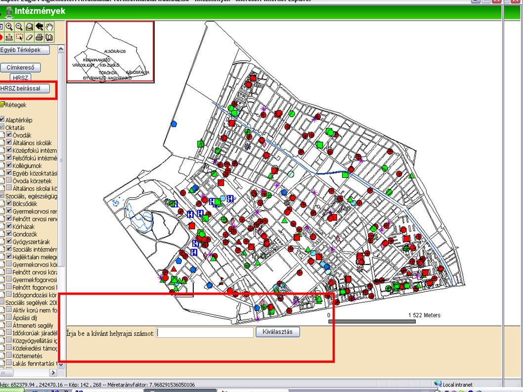 Helyrajzi szám kereső  Helyrajzi szám alapján lehet keresni az adatbázisban  Kétféle keresési mód  Legördülő menü segítségével  Az adatbázisból a