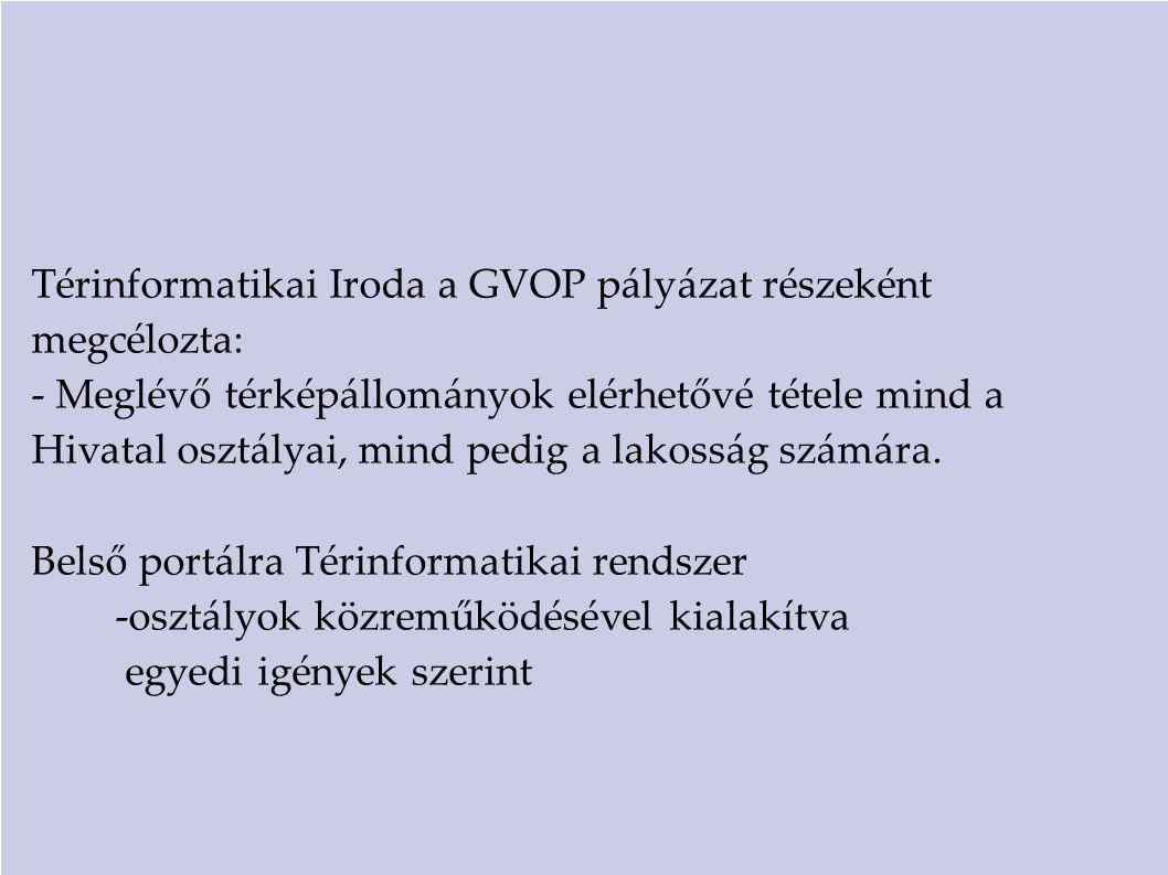 Térinformatikai Iroda a GVOP pályázat részeként megcélozta: - Meglévő térképállományok elérhetővé tétele mind a Hivatal osztályai, mind pedig a lakoss