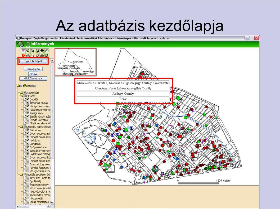 Az adatbázis kezdőlapja  Osztályonként különböző adatbázisok  Egy-egy adatbázist bármely osztály elérhet és használhat