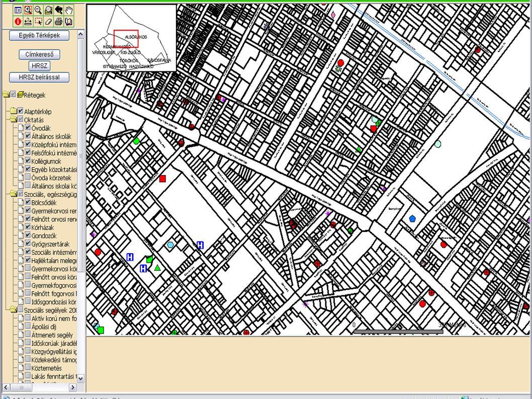 Térképi kezelőeszközök  Nagyítás / kicsinyítés  A térkép méretarányát változtathatjuk meg  Teljes nézetre nagyítás / Előző nézet  A térkép iniciál