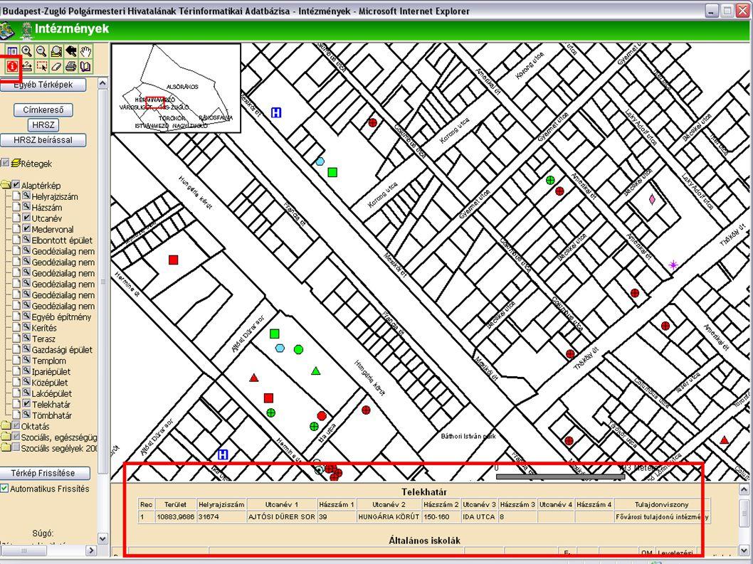 Térképi azonosítás  Információ lekérdezése az adatbázisból  Az eszköz kiválasztása után a térképre kattintunk  Az információs sávban az elemről az