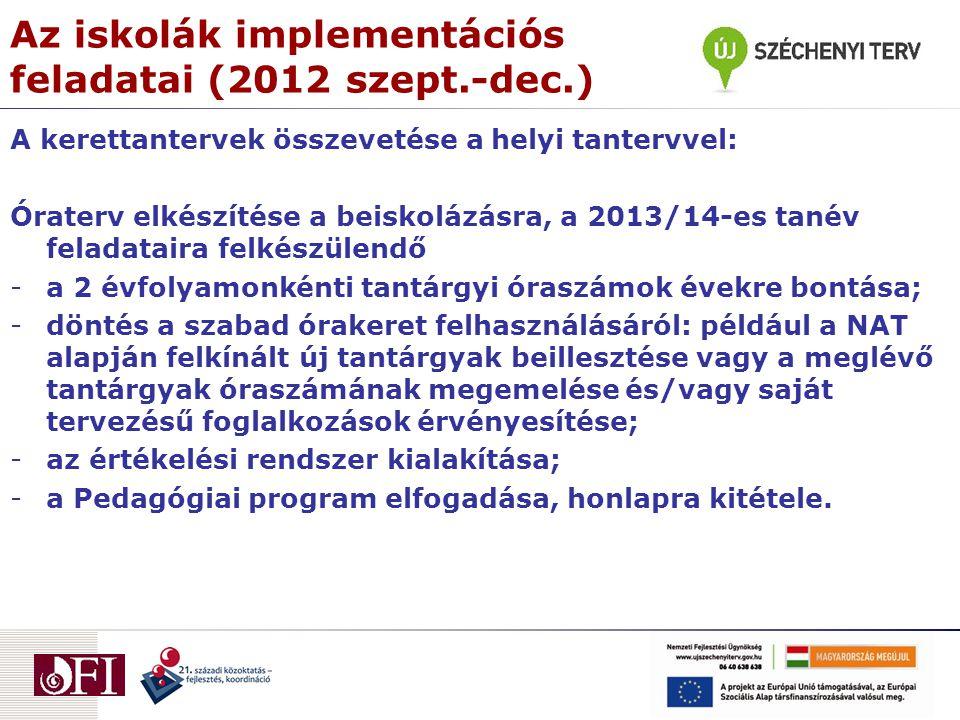 Az iskolák implementációs feladatai (2012 szept.-dec.) A kerettantervek összevetése a helyi tantervvel: Óraterv elkészítése a beiskolázásra, a 2013/14