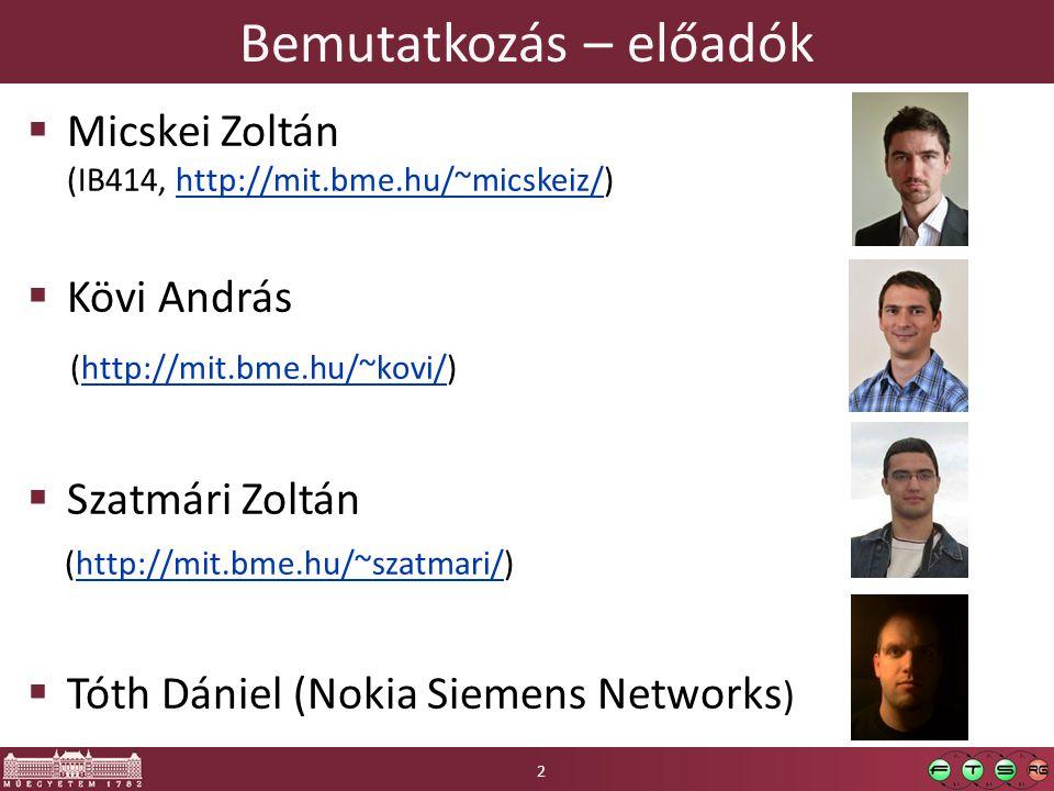 Bemutatkozás – előadók  Micskei Zoltán (IB414, http://mit.bme.hu/~micskeiz/)http://mit.bme.hu/~micskeiz/  Kövi András (http://mit.bme.hu/~kovi/)http