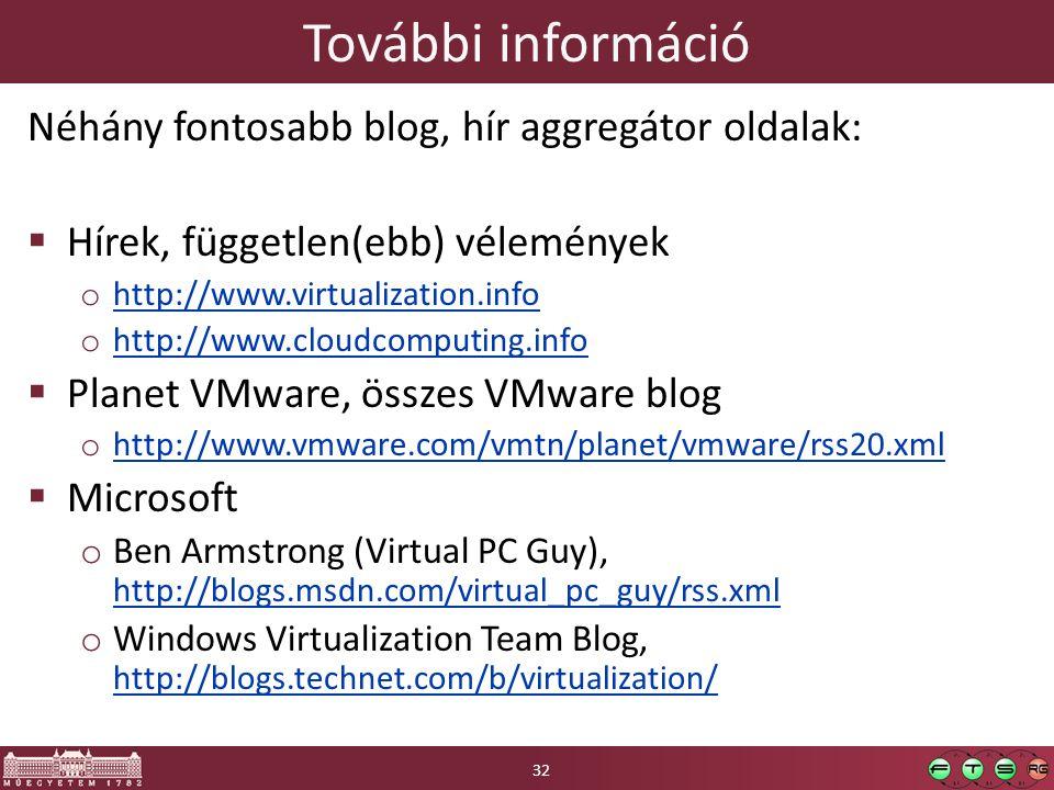 További információ Néhány fontosabb blog, hír aggregátor oldalak:  Hírek, független(ebb) vélemények o http://www.virtualization.info http://www.virtu