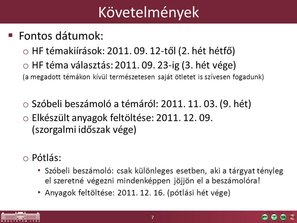 Követelmények  Fontos dátumok: o HF témakiírások: 2011. 09. 12-től (2. hét hétfő) o HF téma választás: 2011. 09. 23-ig (3. hét vége) (a megadott témá