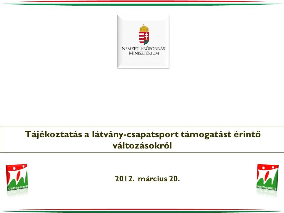2012. március 20. Tájékoztatás a látvány-csapatsport támogatást érintő változásokról
