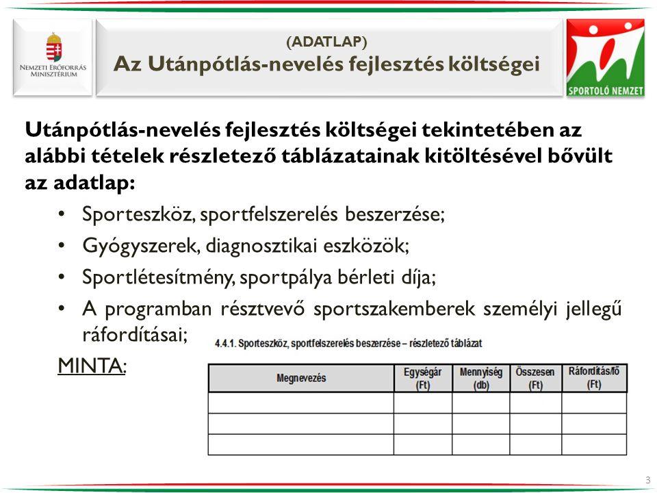 (ADATLAP) Az Utánpótlás-nevelés fejlesztés költségei 3 Utánpótlás-nevelés fejlesztés költségei tekintetében az alábbi tételek részletező táblázatainak kitöltésével bővült az adatlap: •Sporteszköz, sportfelszerelés beszerzése; •Gyógyszerek, diagnosztikai eszközök; •Sportlétesítmény, sportpálya bérleti díja; •A programban résztvevő sportszakemberek személyi jellegű ráfordításai; MINTA: