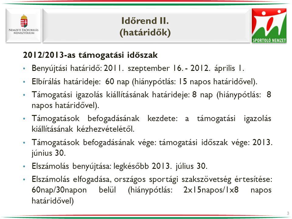Időrend II. (határidők) 2012/2013-as támogatási időszak • Benyújtási határidő: 2011. szeptember 16. - 2012. április 1. • Elbírálás határideje: 60 nap