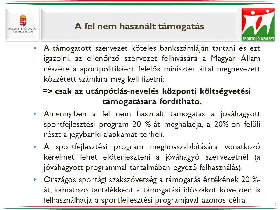 A fel nem használt támogatás •A támogatott szervezet köteles bankszámláján tartani és ezt igazolni, az ellenőrző szervezet felhívására a Magyar Állam részére a sportpolitikáért felelős miniszter által megnevezett közzétett számlára meg kell fizetni; => csak az utánpótlás-nevelés központi költségvetési támogatására fordítható.