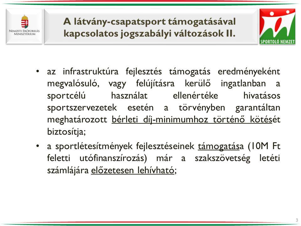 A látvány-csapatsport támogatásával kapcsolatos jogszabályi változások II. •az infrastruktúra fejlesztés támogatás eredményeként megvalósuló, vagy fel