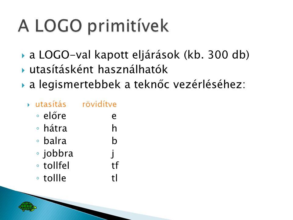  a LOGO-val kapott eljárások (kb. 300 db)  utasításként használhatók  a legismertebbek a teknőc vezérléséhez:  utasításrövidítve ◦ előree ◦ hátrah