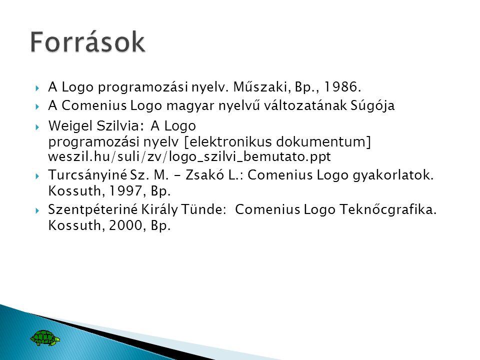  A Logo programozási nyelv. Műszaki, Bp., 1986.  A Comenius Logo magyar nyelvű változatának Súgója  Weigel Szilvia: A Logo programozási nyelv [elek