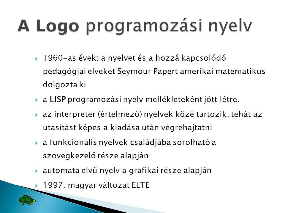  1960-as évek: a nyelvet és a hozzá kapcsolódó pedagógiai elveket Seymour Papert amerikai matematikus dolgozta ki  a LISP programozási nyelv mellékl