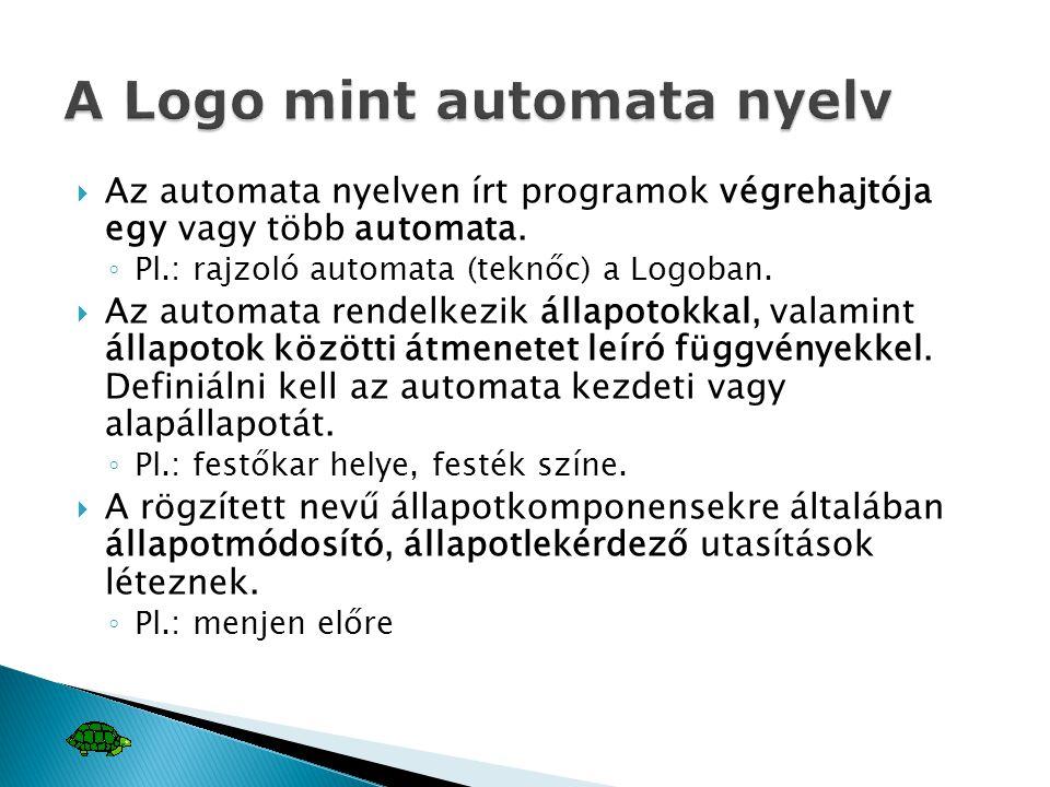  Az automata nyelven írt programok végrehajtója egy vagy több automata. ◦ Pl.: rajzoló automata (teknőc) a Logoban.  Az automata rendelkezik állapot