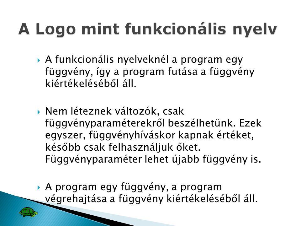  A funkcionális nyelveknél a program egy függvény, így a program futása a függvény kiértékeléséből áll.  Nem léteznek változók, csak függvényparamét