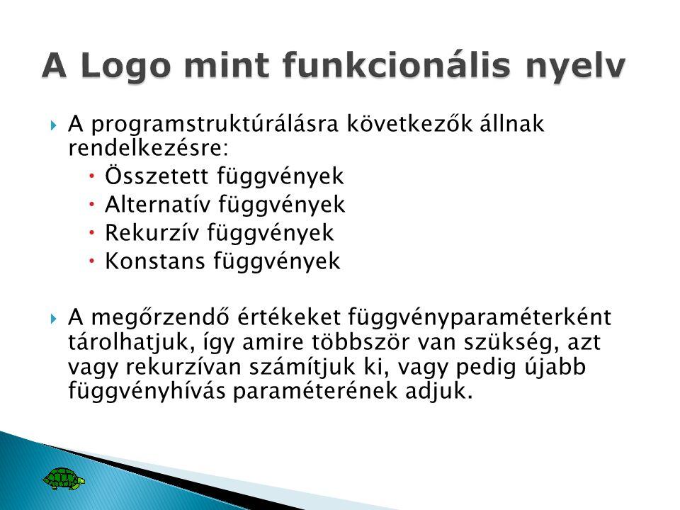  A programstruktúrálásra következők állnak rendelkezésre:  Összetett függvények  Alternatív függvények  Rekurzív függvények  Konstans függvények