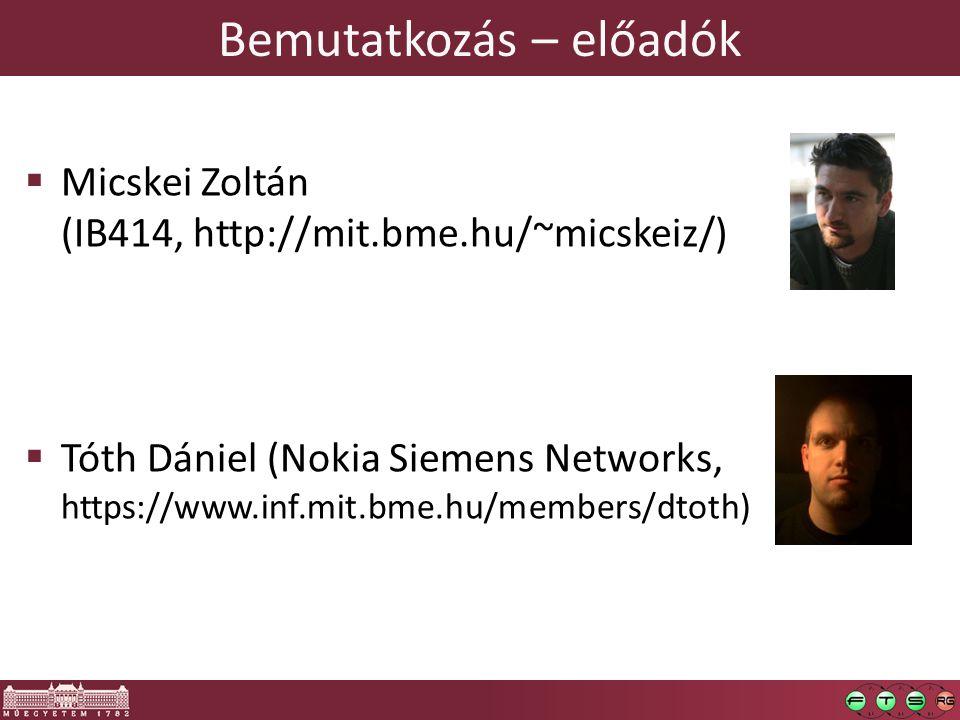 Bemutatkozás – előadók  Micskei Zoltán (IB414, http://mit.bme.hu/~micskeiz/)  Tóth Dániel (Nokia Siemens Networks, https://www.inf.mit.bme.hu/member