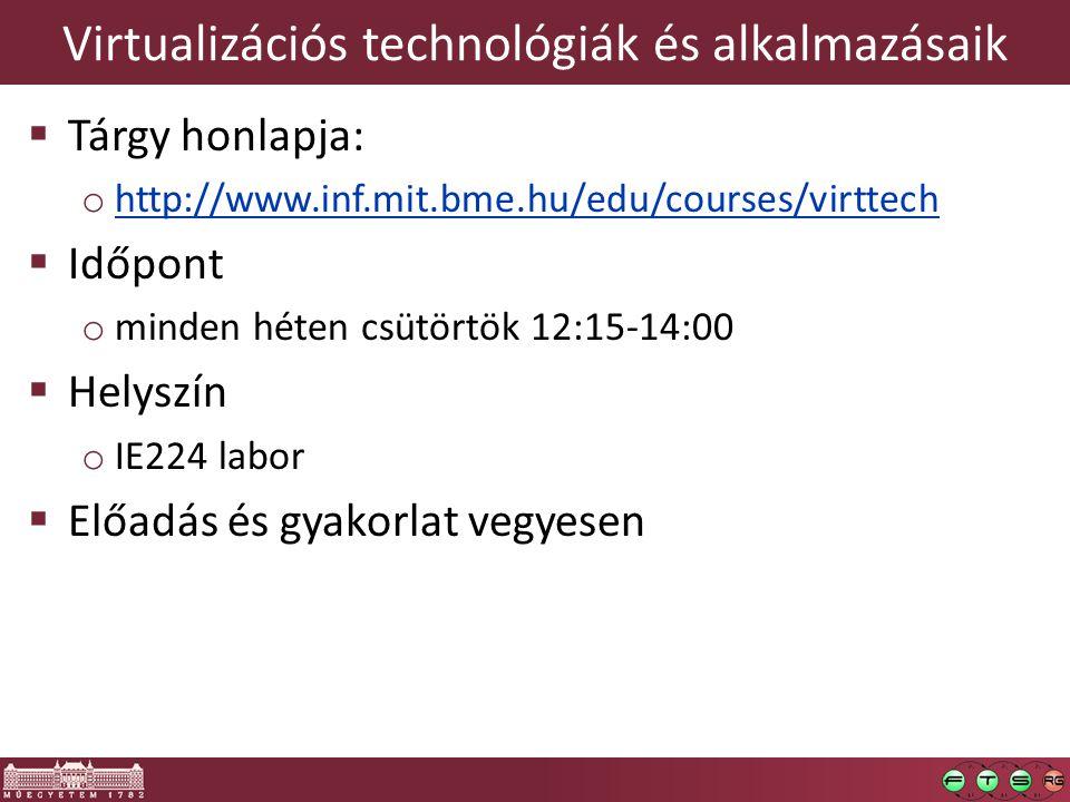 Virtualizációs technológiák és alkalmazásaik  Tárgy honlapja: o http://www.inf.mit.bme.hu/edu/courses/virttech http://www.inf.mit.bme.hu/edu/courses/