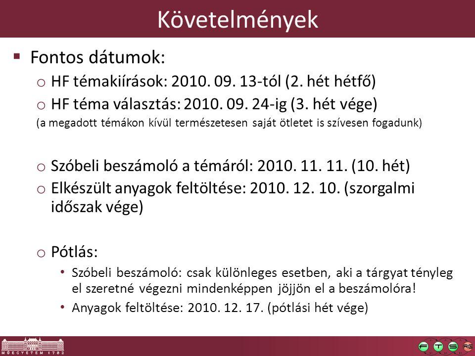 Követelmények  Fontos dátumok: o HF témakiírások: 2010. 09. 13-tól (2. hét hétfő) o HF téma választás: 2010. 09. 24-ig (3. hét vége) (a megadott témá