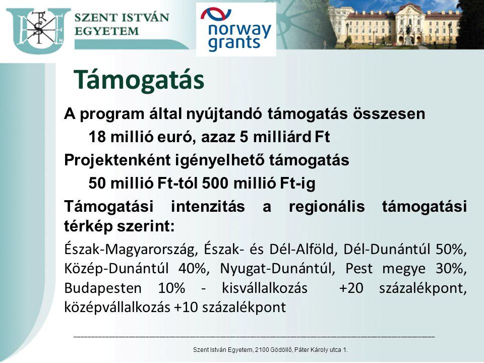 Támogatás A program által nyújtandó támogatás összesen 18 millió euró, azaz 5 milliárd Ft Projektenként igényelhető támogatás 50 millió Ft-tól 500 mil