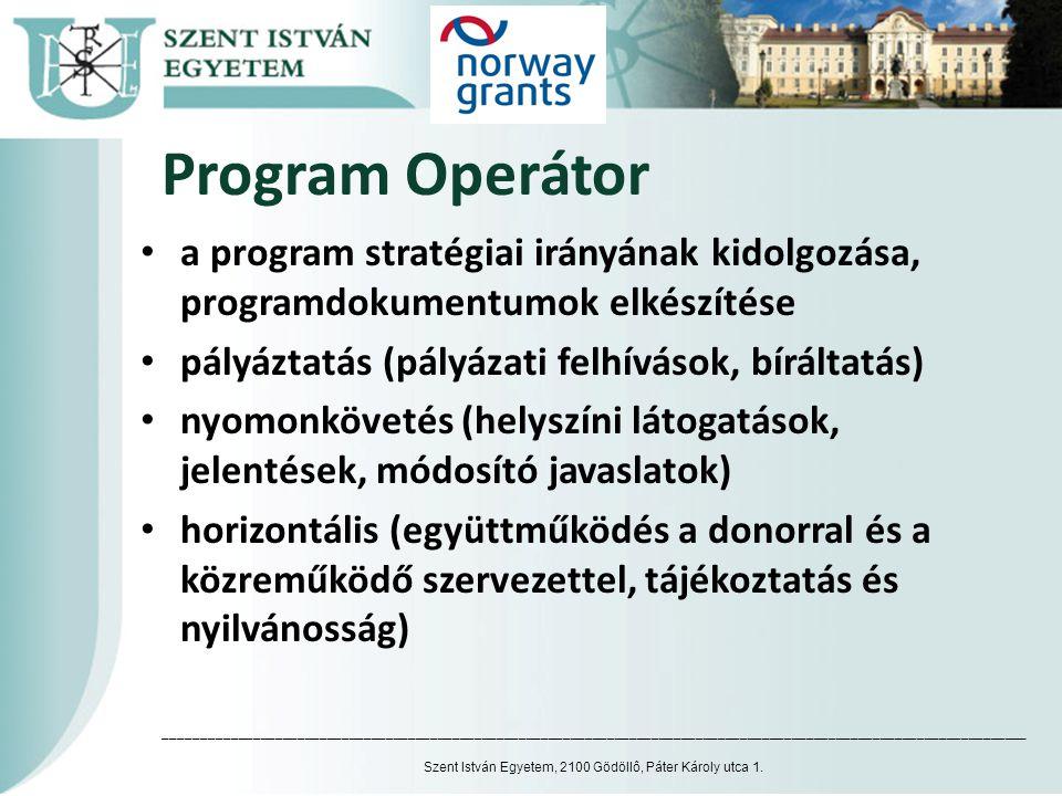 Program Operátor • a program stratégiai irányának kidolgozása, programdokumentumok elkészítése • pályáztatás (pályázati felhívások, bíráltatás) • nyom