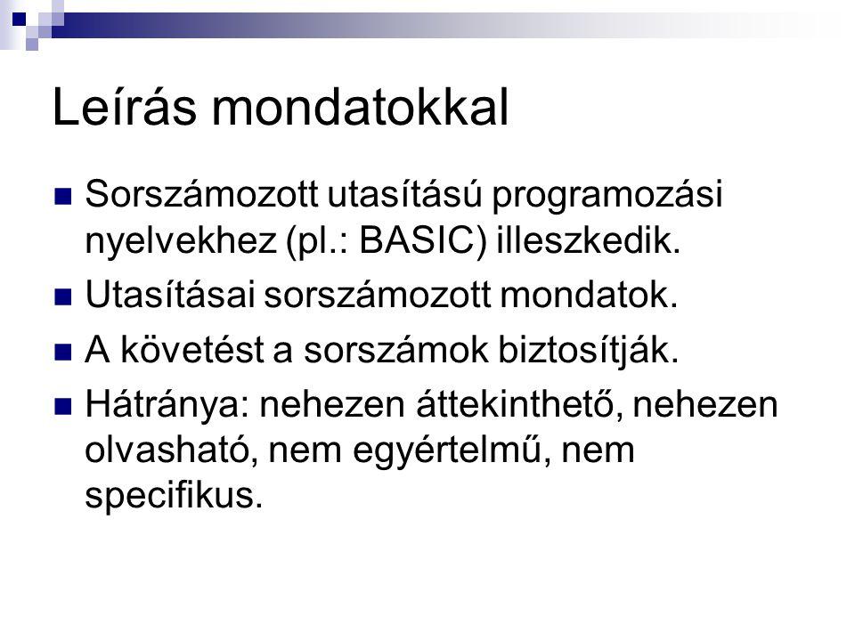 Leírás mondatokkal  Sorszámozott utasítású programozási nyelvekhez (pl.: BASIC) illeszkedik.  Utasításai sorszámozott mondatok.  A követést a sorsz