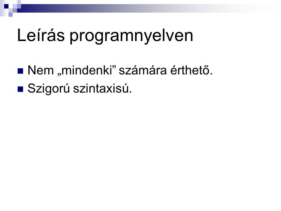 """Leírás programnyelven  Nem """"mindenki"""" számára érthető.  Szigorú szintaxisú."""