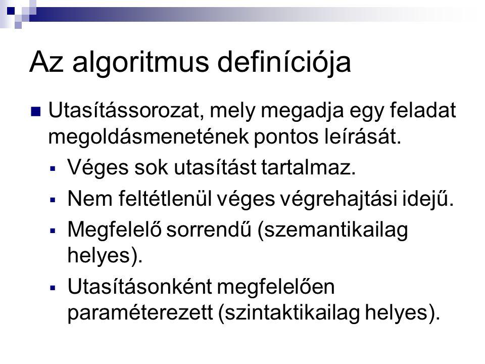 Az algoritmus definíciója  Utasítássorozat, mely megadja egy feladat megoldásmenetének pontos leírását.  Véges sok utasítást tartalmaz.  Nem feltét