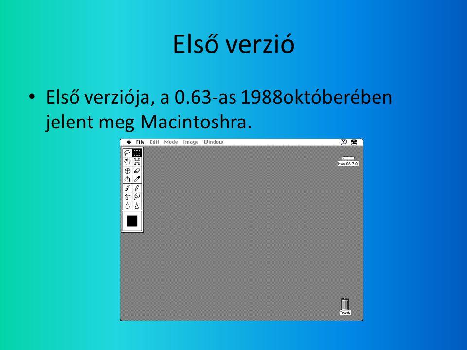 Első verzió • Első verziója, a 0.63-as 1988októberében jelent meg Macintoshra.
