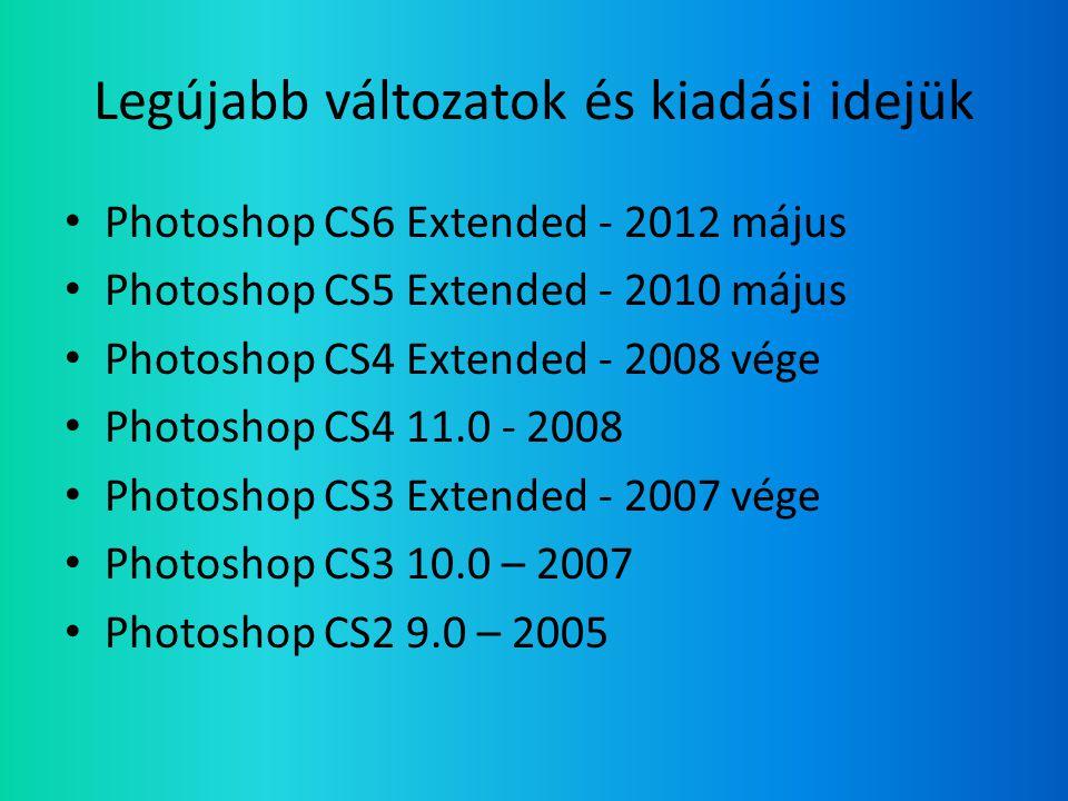 Legújabb változatok és kiadási idejük • Photoshop CS6 Extended - 2012 május • Photoshop CS5 Extended - 2010 május • Photoshop CS4 Extended - 2008 vége • Photoshop CS4 11.0 - 2008 • Photoshop CS3 Extended - 2007 vége • Photoshop CS3 10.0 – 2007 • Photoshop CS2 9.0 – 2005