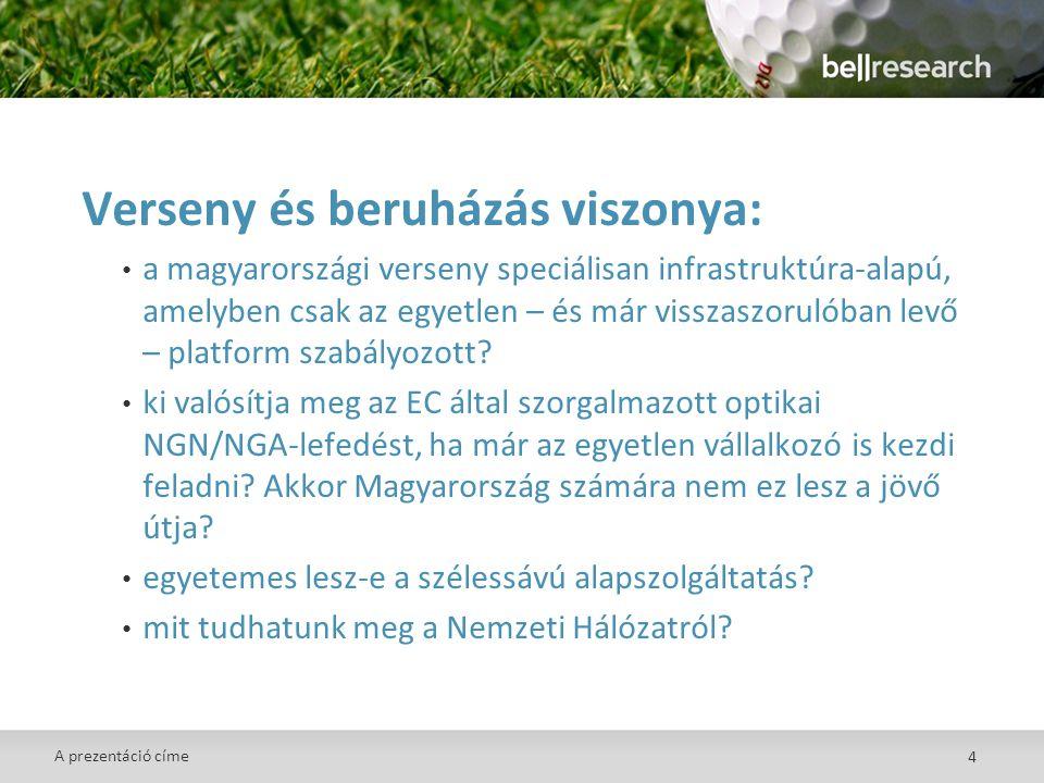 4 Verseny és beruházás viszonya: • a magyarországi verseny speciálisan infrastruktúra-alapú, amelyben csak az egyetlen – és már visszaszorulóban levő – platform szabályozott.