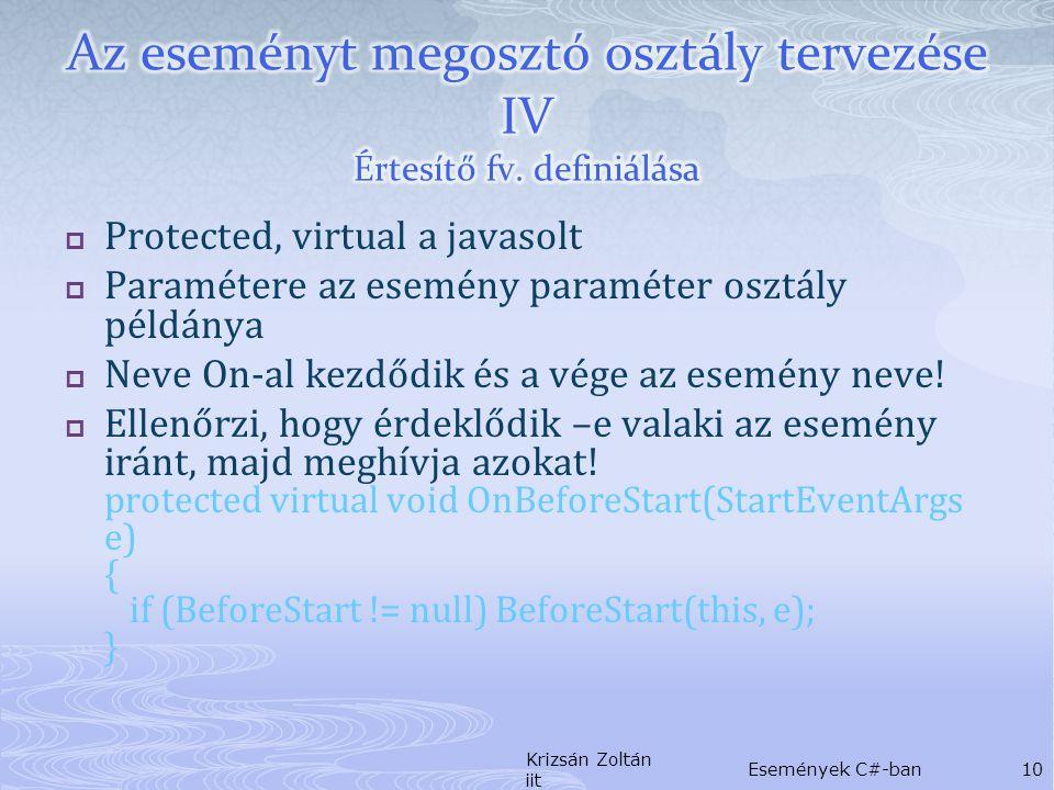1.Észleli a várt eseményt 2. Létrehozza az esemény paraméter osztály példányát 3.