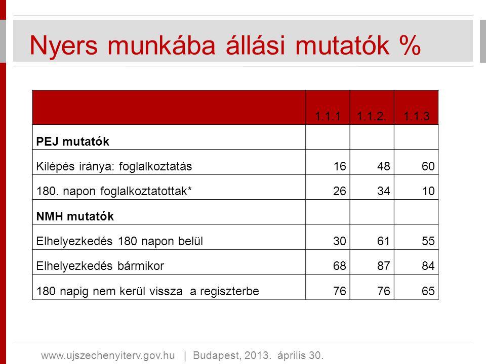 Nyers munkába állási mutatók % www.ujszechenyiterv.gov.hu   Budapest, 2013. április 30. 1.1.11.1.2.1.1.3 PEJ mutatók Kilépés iránya: foglalkoztatás164