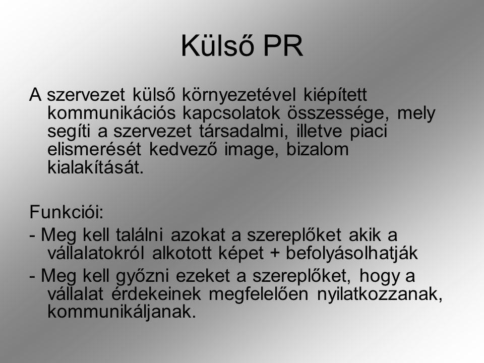 A külső PR területei: - médiakapcsolatok - pénzügyi kapcsolatok -t-társadalmi kapcsolatok -t-támogatáspolitika -v-válságkommunikáció