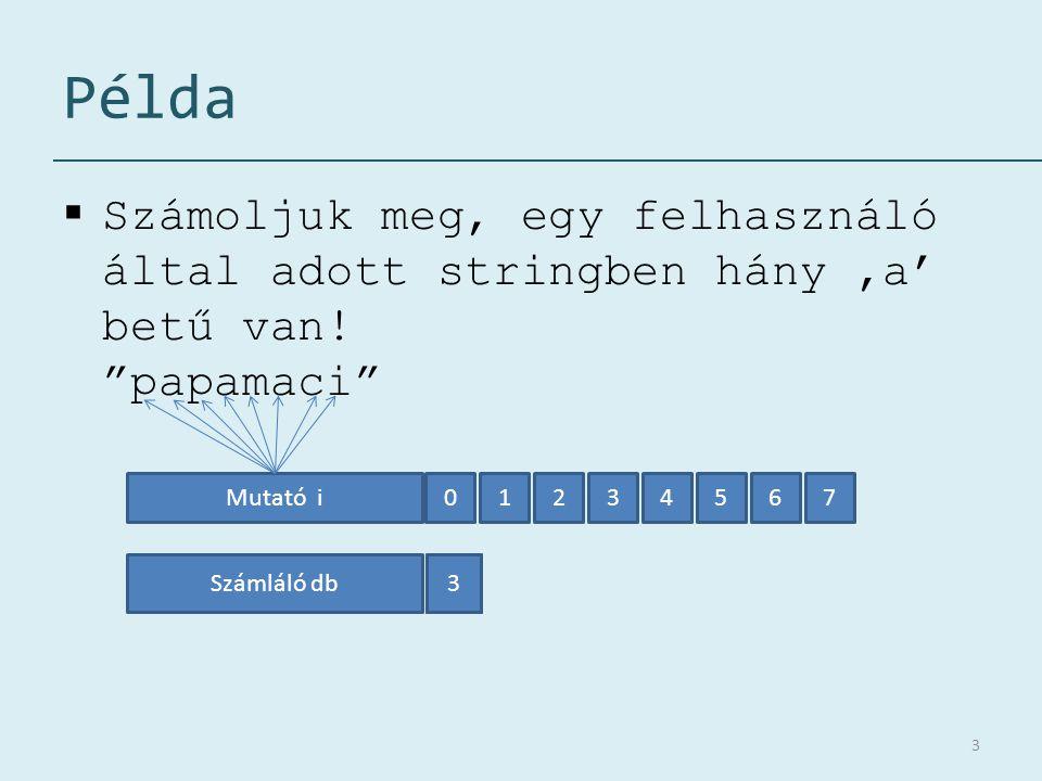 Példa  Számoljuk meg, egy felhasználó által adott stringben hány 'a' betű van.
